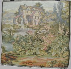 Vintage Italian Woven Tapestry Pillow Front 20 Inches Square