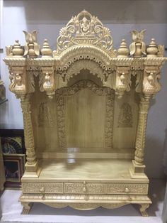Temple Design For Home, Home Temple, Mandir Design, Pooja Mandir, Pillar Design, Pooja Room Door Design, Wood Carving Designs, Puja Room, Prayer Room
