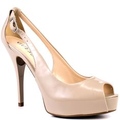 GUESS 'Hondo3' Light Natural Synthetic peep-toe connected slingback covered platform laminated stiletto heel Pump
