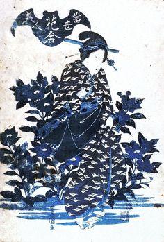 "Utagawa Toyokuni's ""Geisha and Kikyo Flowers,"" 1830-1836. Geisha pursued by a bat."