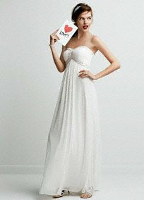 Make unforgettable memories on your special day in this ultra-chic wedding dress!  Strapless bodice with sweetheart neckline features beaded ruched detail on bust.  A-line silhouette flows softly to the ground.   Available online and in select stores.  Fully lined. Imported polyester. Invisible back zip. Professional spot clean only, not direct heat or steam.  To protect your dress, try our Non Woven Garment Bag.