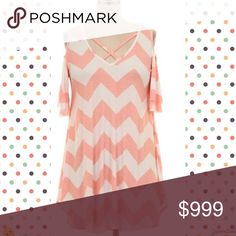 2 LEFT! Cold Shoulder Chevron Tunic Top 1X,2X,3X. 92% Polyester and 8% Spandex. Tops Tunics