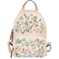 Red Valentino Women Flower Embellished Nylon Backpack ($830) ❤ liked on Polyvore featuring bags, backpacks, light pink, red valentino, embroidered backpacks, backpacks bags, flower backpack and beaded bag