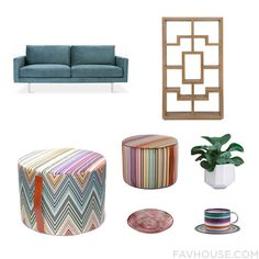 Handmade Interior Design Idea Including Gus Bloor Sofa, Brownstone Chelsea Teak Bookcase, Missoni Home Kew Cylindrical Pouf - T59, Missoni Home Reno Pouf - 156 - 40X30Cm, Convivial Production Riveted Planter White By, Missoni Home Cordonetto Large Serving Dish - Red, Missoni Home Zig Zag - Teacup & Saucer - Set Of 2. Find Out Where To Buy The Things You Love In This Home Decor Idea From July 2016.