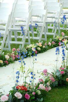 Witte loper met bloemen