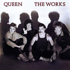 Queen - The Works album cover The Works:Embarrassed by their disco deviation, Queen go back to being four regular blokes, sitting on the ground in front of their shadows looking very everyman. Aren't they about to dress in drag for their video?