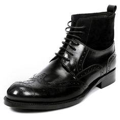 Black Leather Lace Up Modern Vintage Dress Brogue Boots for Men SKU-1100994
