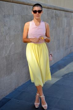 Pastel Outfit. Pastel Pink. Pastel Yellow. Wedges. Yellow Midi Skirt. Summer Outfit. Summer Fashion