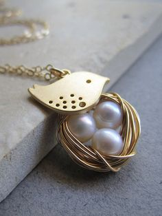Pearl Nest Mother's Necklace with Mama Bird Gold by TheDirection, $34.20