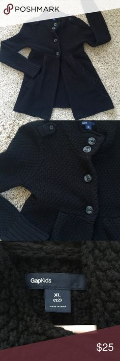 Gap Kids black knit pea coat sz XL / 12 EUC! No flaws.  Very pretty and goes from everyday wear to formal attire. Youth size xl, could also fit a very petite adult.  - -- black babydoll long sweater jacket coat size 12 girls GAP Jackets & Coats Pea Coats