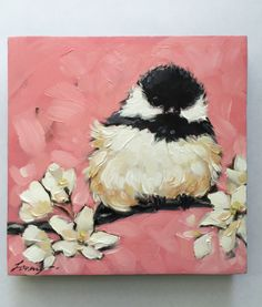 "Chickadee art, impressionistic, 5x5"" original oil painting of a Chickadee with flowers, Bird Paintings, chickadee paintings by LaveryART on Etsy"