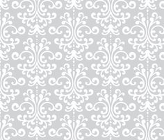 "$17.50 per yard 42"" wide damask lg light grey and white fabric by misstiina on Spoonflower - custom fabric"