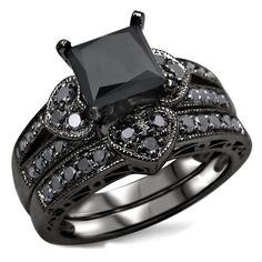 <li>Certified black diamond bridal ring set</li><li>14k black rhodium-plated gold wedding jewelry</li><li><a href='http://www.overstock.com/downloads/pdf/2010_RingSizing.pdf'><span class='links'>Click here for ring sizing guide</span></a></li>