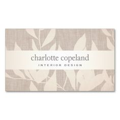 Elegant Leaves Chic Interior Design Beige Nature Business Card. Great card for interior designers, event planners, beauty consultants, hair salons, fashion boutiques and more. Fully customizable and ready to order.