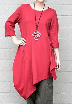 723f5a4bca PACIFICOTTON Bryn Walker Pacific Cotton NADA Tunic Long Top L (L XL)  HOLLYBERRY