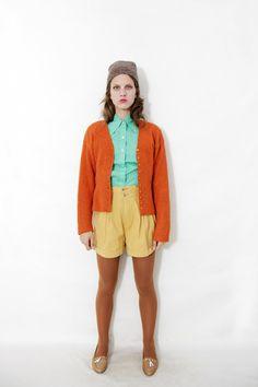 Vintage sweater / pumpkin knit cardigan / size SM by nemres, $35.00