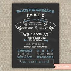 Housewarming Party Invitation - Chalkboard Style
