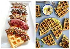 Lyst til å gjøre noe spennende ut av vaffelrøra? Her er 10 gode ideer til forskjellige vaffelvarianter du kan prøve deg på. Bacon, Dessert, Breakfast, Food, Morning Coffee, Postres, Deserts, Meals, Desserts