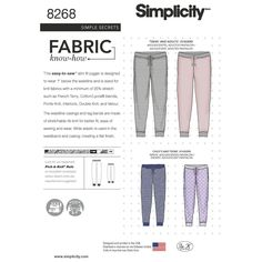 Make these easy-to-sew knit joggers for the entire family. Pattern is sized for adults, teens and children. Look for fabrics such as French terry, ponte, interlock or velour for best results. Simplicity sewing pattern.