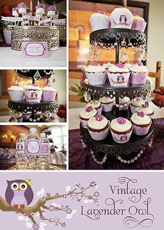 Owl Baby Shower package! What a great idea! Although just purple isn't my style... but it's still adorable!