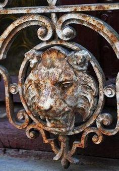 the rusty lion sleeps tonight Old Gates, Rusty Metal, Metal Fence, The Lion Sleeps Tonight, Rust Never Sleeps, Statues, Rust In Peace, Peeling Paint, Iron Work