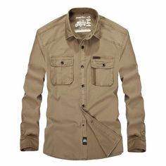 Brand: Jeep Rich      Fabric Material:    100%Cotton    Closure Type:   Single Breasted  Collar: Turn-down Collar Fit Type: Loose Fit  Decoration: Solid Color   Thickness:   Standard    Color: Army Green, Khaki   Occasion:   Casual, Fashion, Business   Season:   Spring, Autumn, Winter   Tag Size: M, L, XL, 2XL, 3XL    Package included:   1*Shirt       Please Note:                1.Please see the Size Reference to find the correct size.