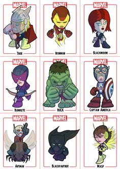Avengers Chibi sheet 1 by *Juggertha on deviantART