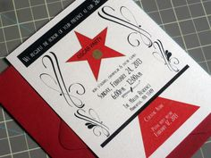 Oscar party invitations or Hollywood theme party invitations with color envelopes
