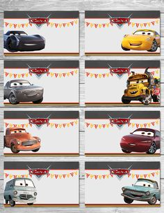 Greetings and thanks for taking a look at my Printable Cars 3 Food Tents - a great choice when considering a Cars 3 Themed Birthday party! I had so many requests for different characters, I made this 3rd set of Cars Food Tents that feature some of the key characters in the new Cars 3