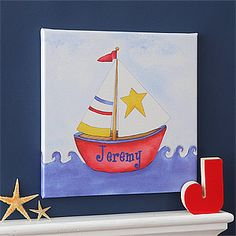 Perfect for any boat or nautical theme! It's PMall's Ahoy!© Personalized Sailboat Canvas Art for kid's room or nursery! On sale now for only $23.05! #Sailboat #Nautical #Boat