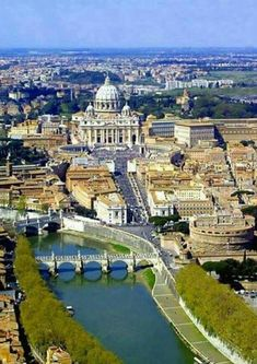 Vatican City and to the right Castel Sant Angelo Rome