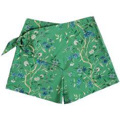 Samantha Pleet Green Wallpaper Curtain Shorts ($149) ❤ liked on Polyvore featuring shorts, short shorts, sash belt, mini shorts, floral shorts and green floral shorts