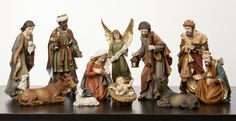 "NEW!  14"" Heaven's Majesty Nativity Figure Set   Large Scale- impressive size for chapel or large mantle or side table. Wood carved look, hand-painted in traditional colors. Beautiful 11 piece heirloom quality nativity set. Removable Baby Jesus! This stunning Nativity has some of the finest detail we've seen! The faces on these figures are painted with great care and the quality is visible. Figures are 14"" tall. (Item #22536)"