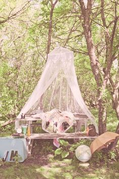 canopy in the woods- so cute for after wedding couple alone-time