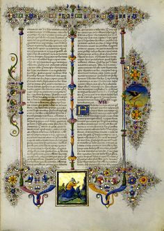 Bible of Borso d'Este (duke of Ferrara) // The manuscript was completed between 1455 and 1461, the same time that Johann Gutenberg was producing the first printed Bible from moveable type. // World Digital Library // #Sacred #Scriptures #Biblia