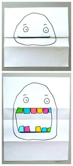 pliage dessin, coloriage pliage, dessin maternelle, dessin visage, Folded paper project • Craftwhack.com