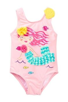 Pink hair, don't care. Your little fish was mer-made to wear the Mermaid One-Piece Swimsuit from Wetsuit Club. A darling mer-gal boasts aquamarine. Mermaid Swimsuit, Baby Girl Swimsuit, Pink Swimsuit, Toddler Fashion, Toddler Outfits, Kids Outfits, Kids Fashion, Toddler Girls, Baby Girls