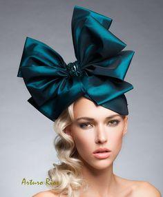 Teal Bow headpiece couture fascinator Fashion by ArturoRios