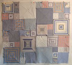 Quilt pattern loosely based on a Kaffe Fasset pattern, so blogger Bloominworkshop says in: My Semi-Plan by RhubarbPatch, via Flickr               Great use for striped shirts who've lost  their shine.