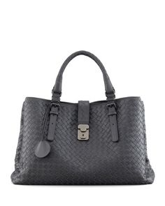 Roma Medium Woven Compartment Tote Bag, Charcoal by Bottega Veneta at Bergdorf Goodman.