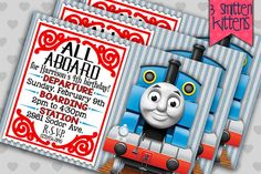 Thomas the Train birthday party invitations by 3SmittenKittens
