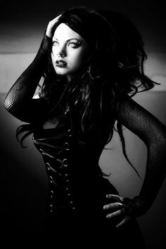 Amazing black and white cyber goth
