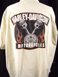 """Harley Davidson Motorcycles """"Pre-Luxe"""" (XXL) Parts & Oil Button Up Work Shirt #HarleyDavidson #WorkShirt"""