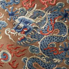 Court robe Date: century Culture: Chinese Medium: silk, metal Chinese Embroidery, Vintage Embroidery, Embroidery Applique, Embroidery Designs, Art Textile, Textile Patterns, Textiles, Chinese Dragon, Chinese Art
