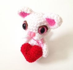 Amigurumi Cat Crochet Cat Crochet Valentine's Day Heart Crochet Doll Plush Stuffed Animal Kawaii Cat White Cat Valentine's Day Gift Ideas by AmiAmiGocco on Etsy