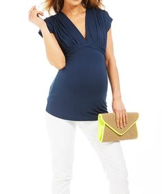 Take a look at this Navy Blue Bias Maternity V-Neck Top on zulily today!