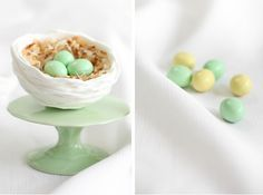 royal icing nests: the consistency is like porcelain.