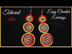Circular Colorful Seed Bead Earrings Tutorial - YouTube