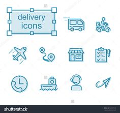 Thin line icons set, Linear symbols set, Delivery Photo by thesomeday123 on Shutterstock