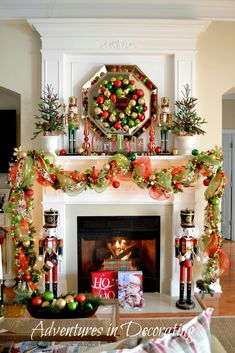 10 Jolly Ways to Style a Christmas Mantel - Classic Shine  With mini pine trees, nutcracker soldiers, and piles of Christmas ornaments, this display is traditional, but brings major sparkle to the party.
